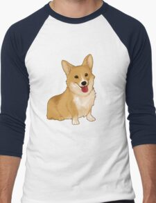 Cute smiling corgi Men's Baseball ¾ T-Shirt