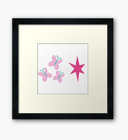 My little Pony - Fluttershy + Twilight Sparkle Cutie Mark V3 Framed Print