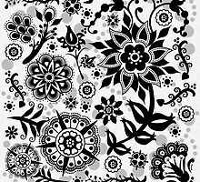 Black & White Floral by Kathleen Dupree