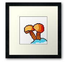 Mushroom Orange 8-Bit Pixel Art Framed Print