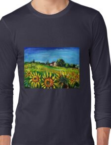 SUNFLOWERS AND COUNTRYSIDE IN TUSCANY Long Sleeve T-Shirt