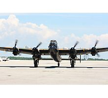Four Engine Avro Lancaster Bomber. with  started engines ready for start. Photographic Print