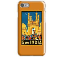 Vintage travel see India, Hyderabad, blue and gold iPhone Case/Skin