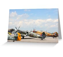 Fighters aeroplanes ME-109 German, Supermarine Spitfire and Hawker Hurricane England, in line ready to flight in formation.  Greeting Card