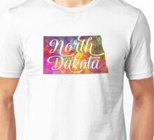 North Dakota US State in watercolor text cut out Unisex T-Shirt