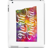North Dakota US State in watercolor text cut out iPad Case/Skin