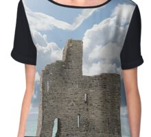 love heart shaped cloud above castle Chiffon Top