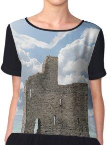 love heart shaped cloud above castle Chiffon Top