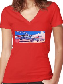 Retro Japanese Future poster Women's Fitted V-Neck T-Shirt