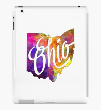 Ohio US State in watercolor text cut out iPad Case/Skin