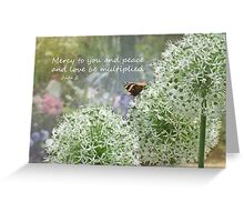 Allium flowers with butterfly and Bible verse of Jude 2 Greeting Card