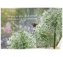Allium flowers with butterfly and Bible verse of Jude 2 Poster