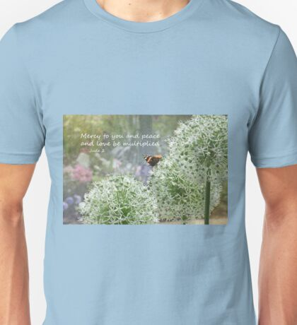 Allium flowers with butterfly and Bible verse of Jude 2 Unisex T-Shirt