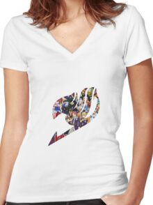 Fairy Tail GMG Characters Logo Women's Fitted V-Neck T-Shirt