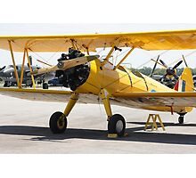 Boeing Stearman PT-27 Kadet single engine trainer front view cockpits and engine. Photographic Print
