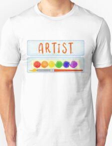 Artist Paint Palette and Brush Watercolor Unisex T-Shirt