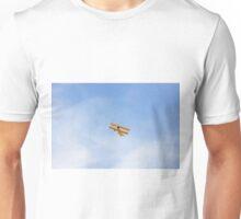 Single Engine Trainer Boeing Stearman PT-27 Kadet flying overhead. Unisex T-Shirt