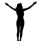 open arms silhouette with clipping path by morrbyte