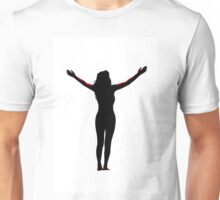 open arms silhouette with clipping path Unisex T-Shirt