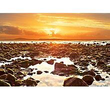 orange reflections at rocky beal beach Photographic Print