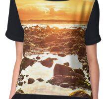 orange reflections at rocky beal beach Chiffon Top