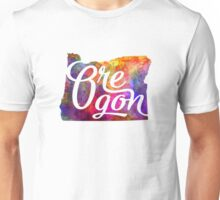 Oregon US State in watercolor text cut out Unisex T-Shirt