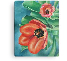 Red Tulips Painting Canvas Print