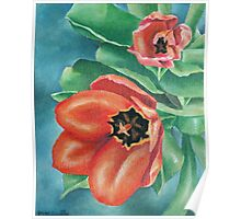 Red Tulips Painting Poster