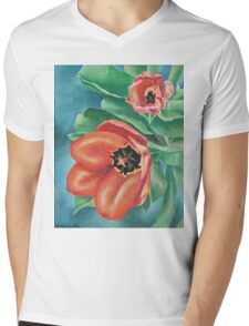 Red Tulips Painting Mens V-Neck T-Shirt