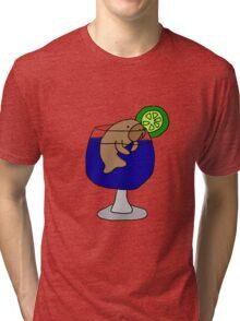 Funny Manatee in Margarita Glass Tri-blend T-Shirt