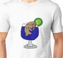 Funny Manatee in Margarita Glass Unisex T-Shirt