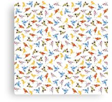 Bird Shapes from Vintage Flower Wallpaper on White Canvas Print
