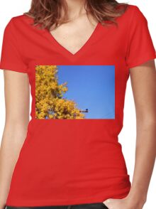 Yellow Autumn Tree Women's Fitted V-Neck T-Shirt
