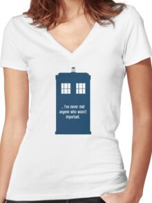 Doctor Who  - Tardis with Quote  Women's Fitted V-Neck T-Shirt