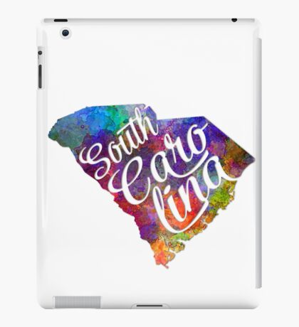 South Carolina US State in watercolor text cut out iPad Case/Skin