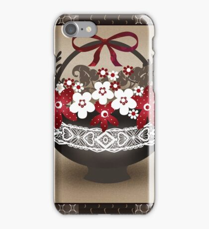 Patchwork modern elements with flowers basket retro spring background iPhone Case/Skin