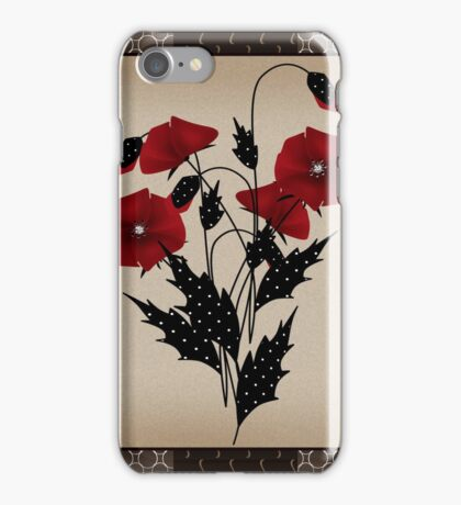 Patchwork modern elements with flowers poppy retro spring background iPhone Case/Skin