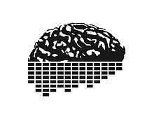 music party dj club cyborg brain machine computer science fiction microchip intelligence brain design cool robot black Photographic Print