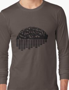 music party dj club cyborg brain machine computer science fiction microchip intelligence brain design cool robot black Long Sleeve T-Shirt