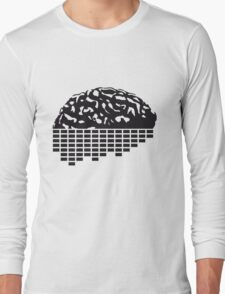 music party dj club cyborg brain machine computer science fiction microchip intelligence brain design cool robot black T-Shirt