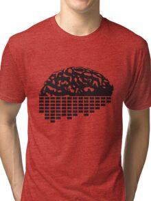 music party dj club cyborg brain machine computer science fiction microchip intelligence brain design cool robot black Tri-blend T-Shirt
