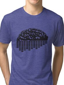 music party dj club cyborg brain machine computer science fiction microchip intelligence brain design cool robot black Tri-blend T-Shirt