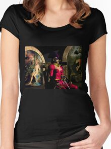 ANDROID XENIA IN HYPERION'S ORBITER  Sci-Fi Women's Fitted Scoop T-Shirt