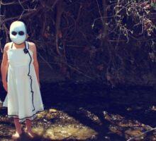 Child In Mask Standing In Creek Sticker
