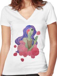 garden girl Women's Fitted V-Neck T-Shirt