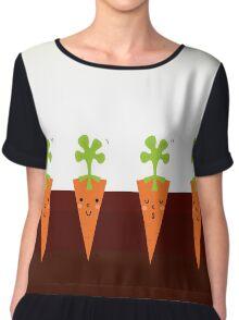 Sweet Carrots growing in dark Soil Chiffon Top