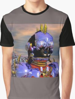 TITAN CYBORG PORTRAIT Blue Science Fiction ,Sci Fi Graphic T-Shirt