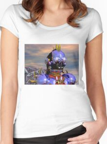 TITAN CYBORG PORTRAIT Blue Science Fiction ,Sci Fi Women's Fitted Scoop T-Shirt