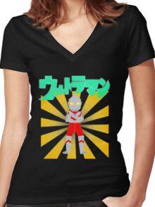 Origami Ultraman Women's Fitted V-Neck T-Shirt
