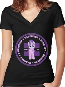 THE CIRCLE OF FRIENDSHIP - STARLIGHT STYLE Women's Fitted V-Neck T-Shirt